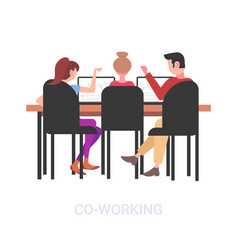Businesspeople sitting at workplace desk vector