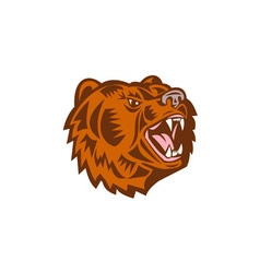 California Grizzly Bear Head Growling Woodcut vector image