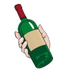 Cartoon image of hand holding bottle of wine vector