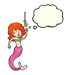 Cartoon mermaid and fish hook with thought bubble vector