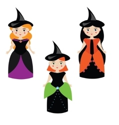 Cartoon witches in halloween dresses vector image