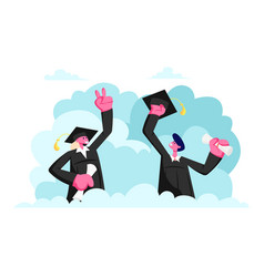 Characters in graduation gowns and caps rejoice vector