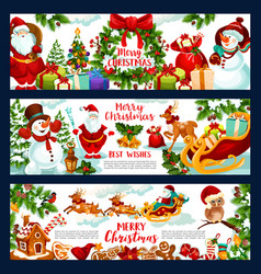 Christmas holidays wish greeting banners vector