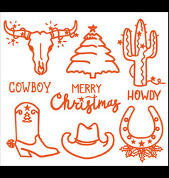christmas icons cowboy merry set vector image