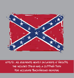 Confederate rebel flag flat - artistic brush vector