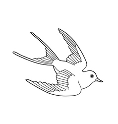 Contour image of bird flying hand drawn vector