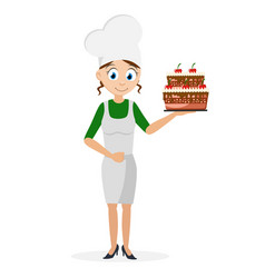 Cook girl holding a beautiful cake in her hand on vector