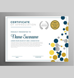 Creative circles certificate template design vector