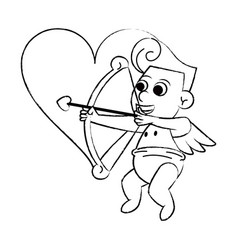 Cupid with arch on heart sketch vector