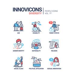 Diversity concept line design style icons set vector