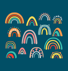 Doodle childrens rainbow set abstract colored vector