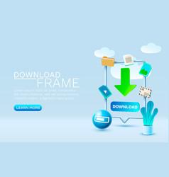download message smartphone mobile screen vector image