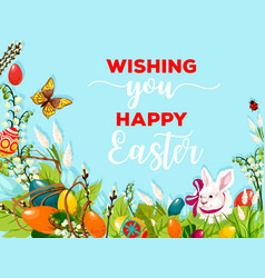 easter egg hunt rabbit on flower meadow poster vector image