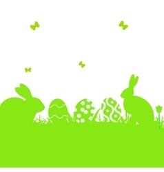 Easter poster with rabbit and grass vector