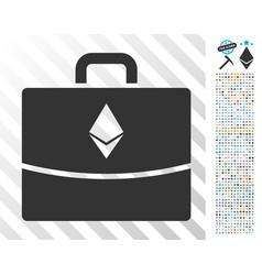 Ethereum accounting case flat icon with bonus vector