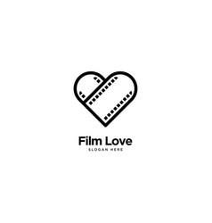 Film love logo outline monoline vector