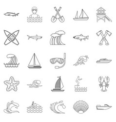 fishing icons set outline style vector image vector image