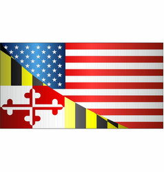 flag of usa and maryland state vector image