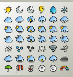 flat line weather icons vector image