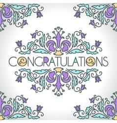 Floral ornament design template Congratulations vector image