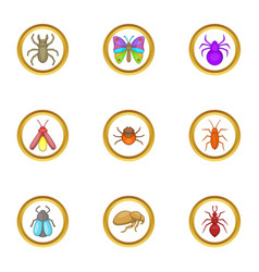 Forest insects icons set cartoon style vector