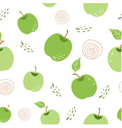Green apple pattern seamless repeating background vector