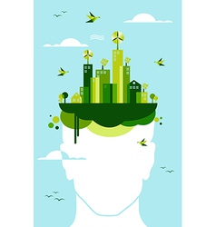 Green city people idea vector
