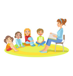 group of small kids sitting around the teacher vector image