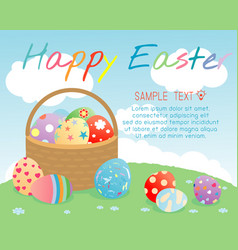 happy easter basket with color easter eggs vector image