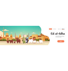 happy eid al-adha mubarak muslim holiday concept vector image