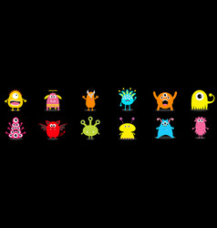 Happy halloween cute monster icon set cartoon vector