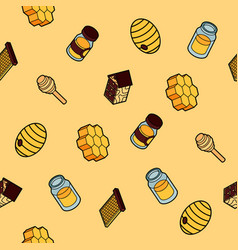 honey flat outline isometric pattern vector image