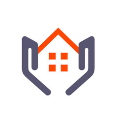 house home residence on hand logo icon concept vector image