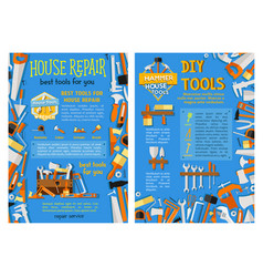house repair work tool hand instrument poster set vector image