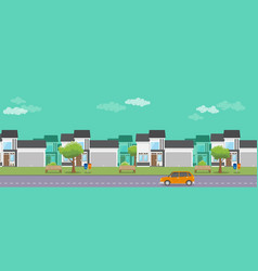 housing real estate with flat style and car on the vector image