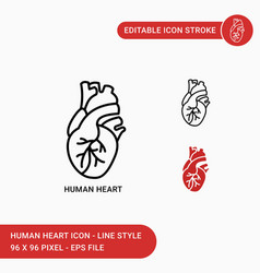 Human heart icons set with icon line style vector