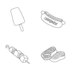Ice cream hot dog nugget shashlyk fast food vector