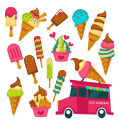 Ice cream truck summer dessert waffle cone and vector