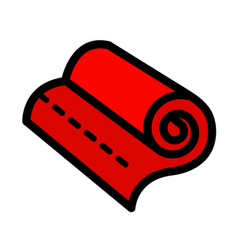 Icon rolled fabric simple style vector