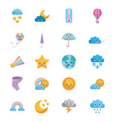 Icon set climate objects cartoon vector