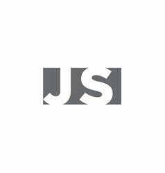 Js logo monogram with negative space style design vector