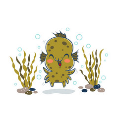 Kid in aqua monster costume vector