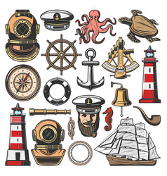 marine nautical and seafarer icons vector image