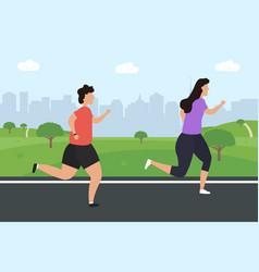 men and women jogging running people run vector image