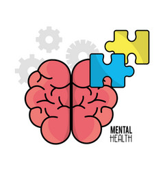 Mental health brain with puzzle tokens vector