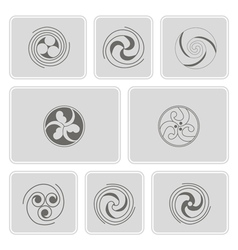 monochrome icons with celtic geometric ornament vector image