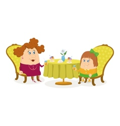 Mother and daughter near table isolated vector image