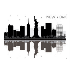 New york city skyline black and white silhouette vector