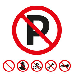no parking sign on white background vector image