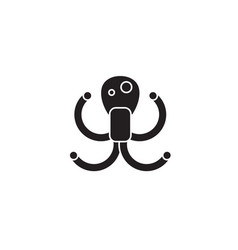 octopus black concept icon octopus flat vector image